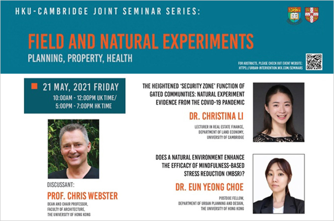 [May 21 & 26] Field and Natural Experiments: Planning, Property, Health